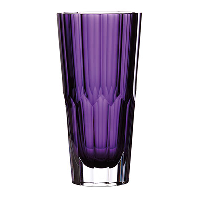 "Waterford Crystal Fleurology Jeff Leatham Icon Vase 10"" Amethyst"
