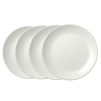 Vera Wang Wedgwood Bone China Perfect White Dinner Plate Set of Four