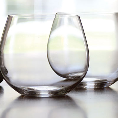 Riedel O Stemless, Chardonnay Crystal Wine Glasses, Pair