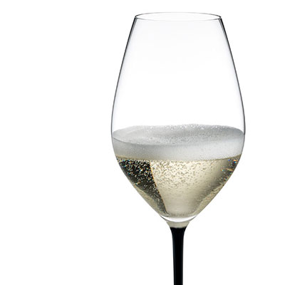 Riedel Fatto A Mano, Champagne Crystal Glass, Black