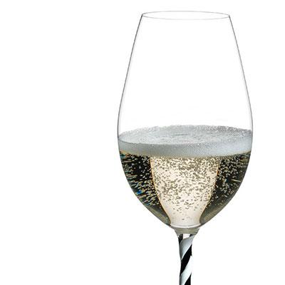 Riedel Fatto A Mano, Champagne Wine Glass, Black and White Twist, Single