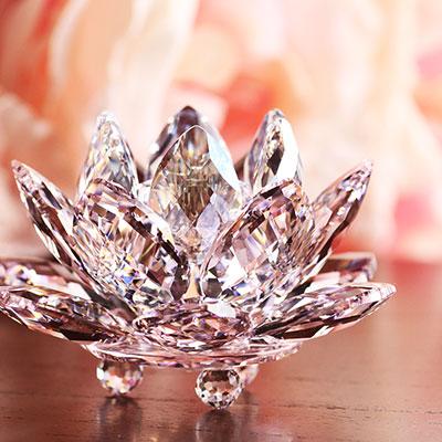 Swarovski Crystal, Paradise Waterlily Crystal Candleholder Rosaline, Small