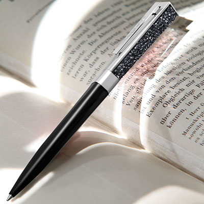 Swarovski Stellar Ballpoint Pen, Black and Rhodium