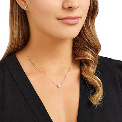 Swarovski Crystal and Rhodium Attract Heart Necklace and Pierced Earrings Jewelry Set