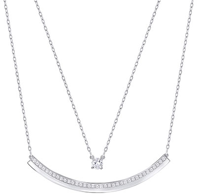 Swarovski Crystal and Rhodium Fresh Layered Necklace
