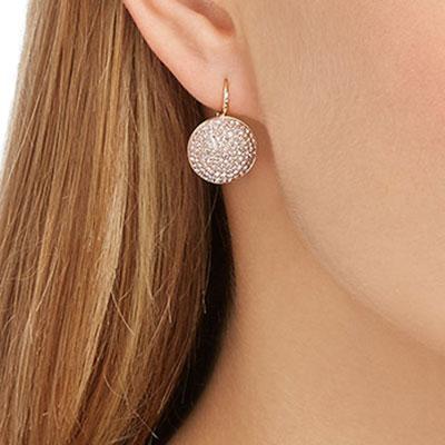 Swarovski Earrings Fun Pierced Earrings Pair Pink Rose Gold