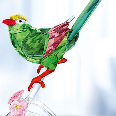 Swarovski Crystal, Paradise Green Magpie Sculpture