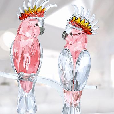 Swarovski Crystal, Paradise Pink Cockatoos Crystal Sculpture
