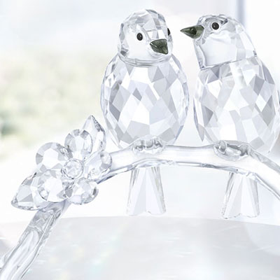 Swarovski Crystal, White Eyes Birds, Pair
