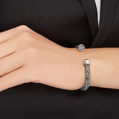 Swarovski Gray Crystal Crystaldust Cuff Bracelet, Medium