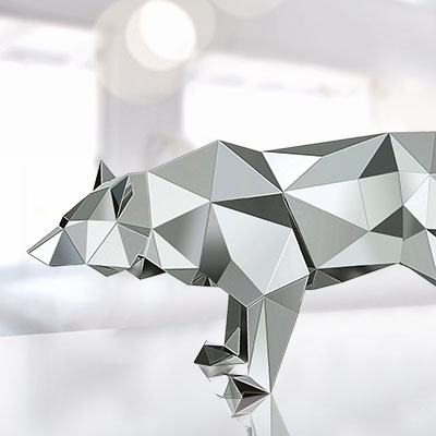 Swarovski Wolf Sculpture By Arran Gregory