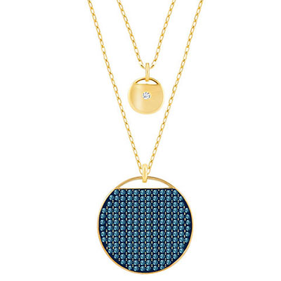 Swarovski Blue Crystal Gold Ginger Layered Pendant Necklace