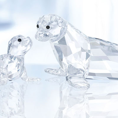 Swarovski Crystal, Sea Lion Mother with Baby
