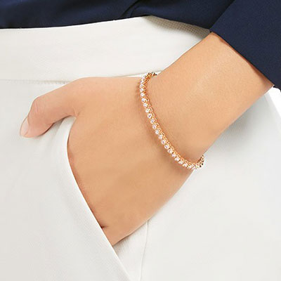 Swarovski Emily Pink and Rose Gold Tennis Bracelet