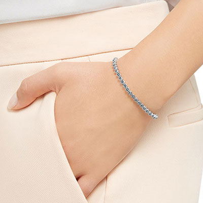 Swarovski Emily Rhodium and Gray Crystal Tennis Bracelet