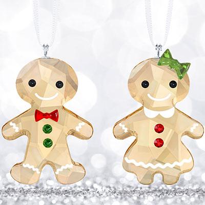 Swarovski Crystal, Gingerbread Couple Crystal Ornament Set
