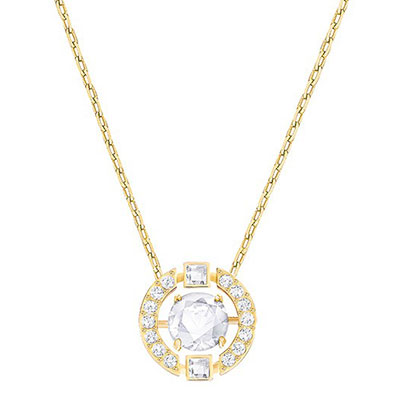 Swarovski Crystal and Gold Sparkling Dance Round Pendant Necklace