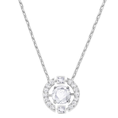 Swarovski Crystal and Rhodium Sparkling Dance Round Pendant Necklace