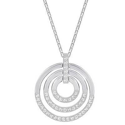 Swarovski Crystal and Rhodium Circle Pendant Necklace