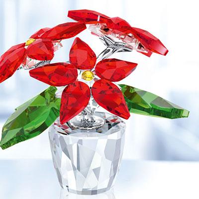 Swarovski Crystal, Small Poinsettia Crystal Figure