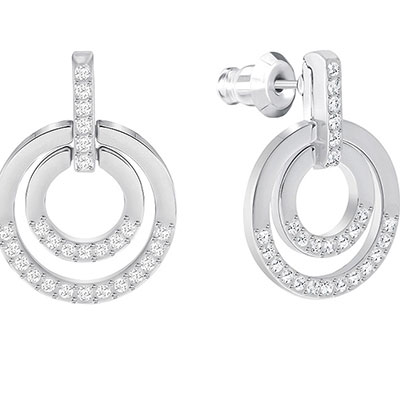 Swarovski Crystal and Rhodium Circle Stud Pierced Earrings Pair
