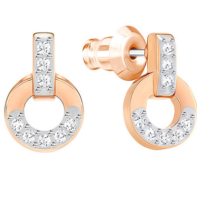 Swarovski Crystal and Rose Gold Circle Stud Pierced Earrings Pair
