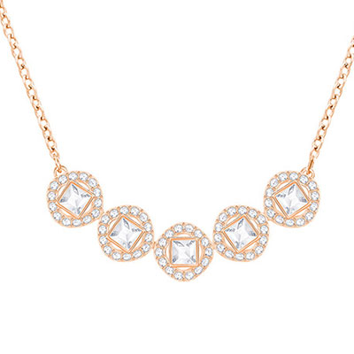 Swarovski Angelic Square White, Rose Gold Necklace