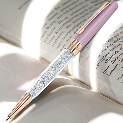 Swarovski Crystal, Stardust Light Lilac and Rose Gold Ballpoint Pen