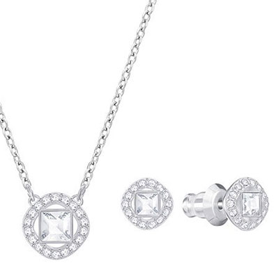 Swarovski Angelic Square Necklace and Pierced Earrings Jewelry Set