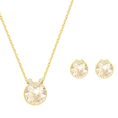 Swarovski Crystal and Gold Bella V Necklace and Pierced Earrings Jewelry Set