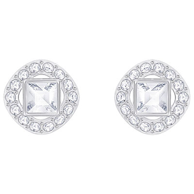 Swarovski Crystal and Rhodium Angelic Square Pierced Earrings Pair