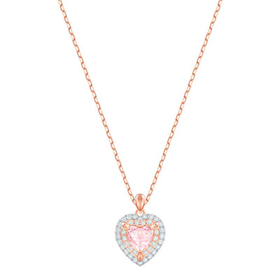 Swarovski Jewelry, One Pendant Pink Crystal Rose Gold