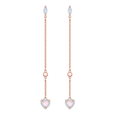 Swarovski Jewelry, One Pierced Earrings Long Pink Crystal Rose Gold