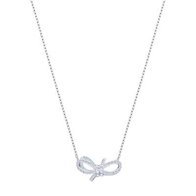 Swarovski Jewelry, Lifelong Bow Necklace Small Crystal Rhodium Silver