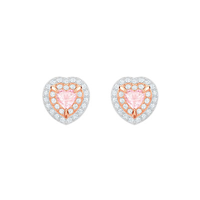 Swarovski Jewelry, One Pierced Earrings Pink Crystal Rose Gold