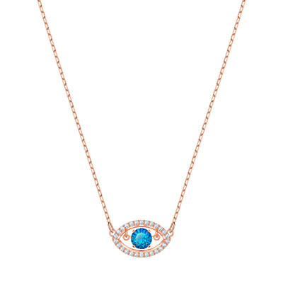 Swarovski Jewelry, Luckily Necklace Evil Eye Crystal Rose Gold