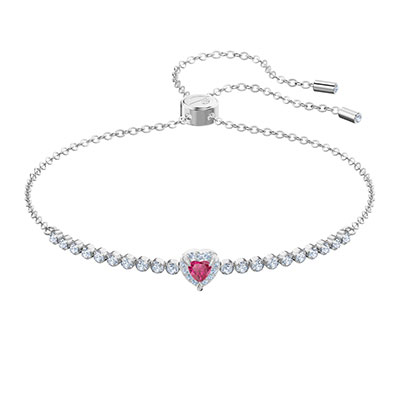 Swarovski Jewelry, One Bracelet Subtle Red Crystal Rhodium Silver Medium