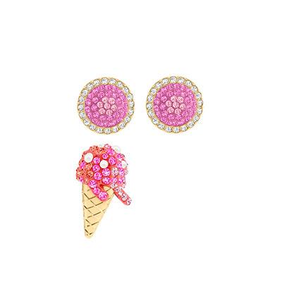 Swarovski Jewelry, No Regrets Pierced Earrings Ice Cream Multi Colored Gold