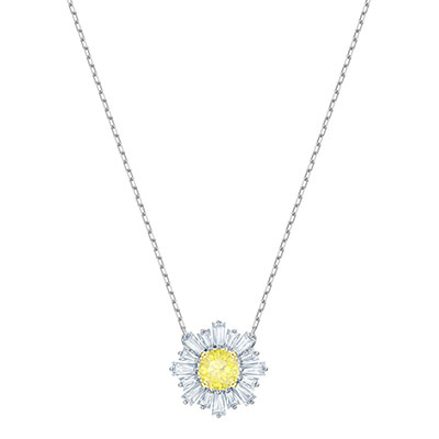 Swarovski Jewelry, Sunshine Pendant Medium Yellow Rhodium Silver