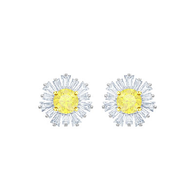 Swarovski Jewelry, Sunshine Pierced Earrings Crystal Rhodium Silver