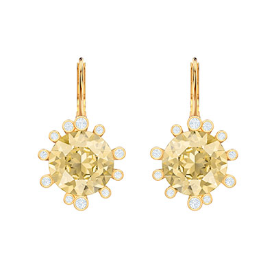 Swarovski Jewelry, Olive Pierced Earrings Drop Round Crystal Gold