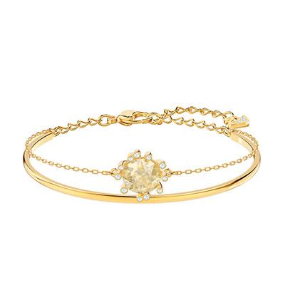 Swarovski Jewelry, Olive Bangle Round Golden Color Crystal Gold Medium