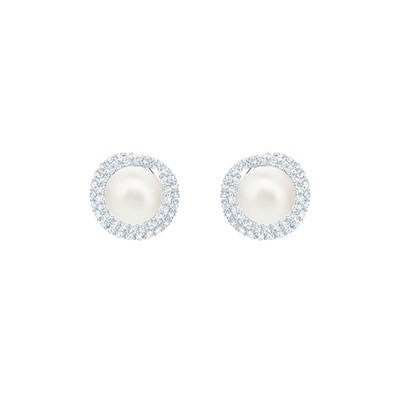 Swarovski Jewelry, Originally Pierced Earrings Crystal Rhodium Silver