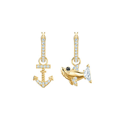 Swarovski Jewelry, Ocean Pierced Earrings Hoop Crystal Gold