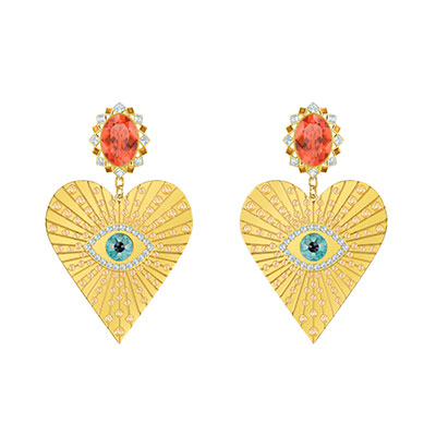 Swarovski Jewelry, Lucky Goddess Clip Earrings Heart Multi Colored Gold
