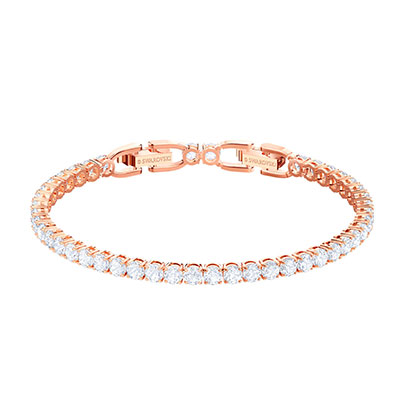 Swarovski Jewelry, Tennis Bracelet Round Crystal Rose Gold Medium