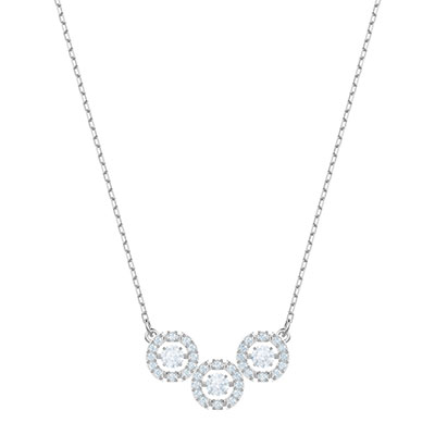 Swarovski Jewelry, Sparkling Necklace Trilogy Crystal Rhodium Silver