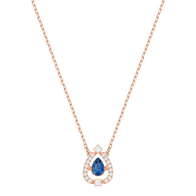 Swarovski Jewelry, Sparkling Necklace Pear Blue Crystal Rose Gold