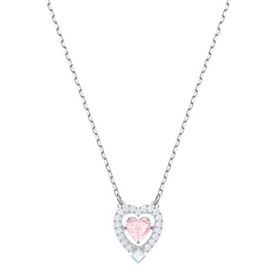 Swarovski Jewelry, Sparkling Necklace Heart Pink Crystal Rhodium Silver