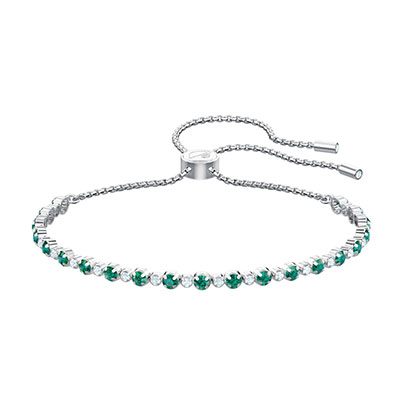 Swarovski Jewelry, Subtle Bracelet Trilogy Crystal, Green Rhodium Silver Medium